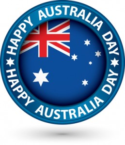 Happy Australia Day blue label, vector illustration